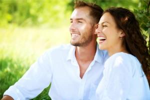Happy Couple in Whitee